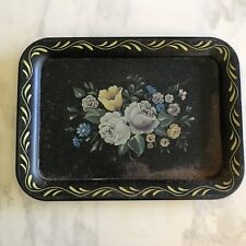 Vintage Black Metal Tray Tole Hand Painted Flowers Tin TV Vanity Shabby Prim