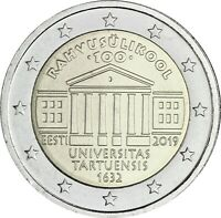 Estland 2 Euro 2019 bfr. 100. Jahrestag der Gründung der Universität Tartu