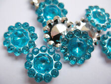 25 x BLUE 11mm FLOWER SHAPED GEMS PERFECT FOR BOW CENTRES HEADBANDS CARD MAKING