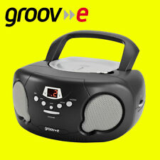 Groov-e GVPS733 Black Portable Boombox Audio CDPlayer Radio Aux In FREE AUX LEAD