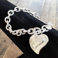 Silver Chain Bracelet With Two Heart Charms