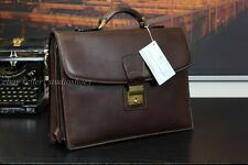 Vtg USA Doctor American Brown Leather Prof Briefcase USA Made Bag +Lock & Keys
