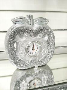 Ceramic Crushed Crystal Diamond Stunning Free Standing Apple Style Clock