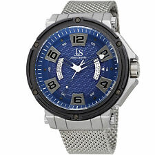 Joshua & Sons JX132BU Multifunction Blue Dual Date Wheel Stainless Steel Watch
