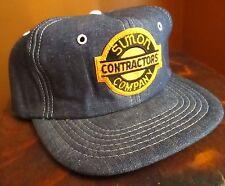New Nos Vtg Denim Hat Cap Snap Back Embroidered Patch Logo Farmer Construction