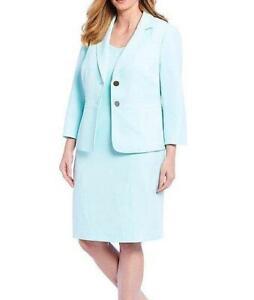 KASPER Plus Size 24W Sea Glass Crepe Dress & Jacket NWT $188
