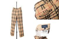 Women's BURBERRY GOLF Pants Trousers Nova Check Plaid Pants Tan UK-10 USA 6