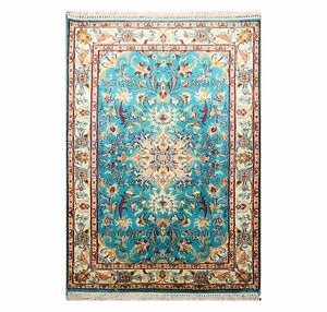 2'1'' x 3'1'' GOI Certified Handmade Kashmir Pure Silk Area Rug Tabrizz 400 KPSI