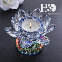 Crystal Lotus Flower Tealight Candle Holder Ornament Wedding Decor 4.3inch Blue
