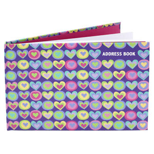 Fashion Stationery A5 A-Z Landscape Address Book - Hearts
