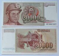YUGOSLAVIA 20.000 dinara 1987, P-95. Plancha UNC.