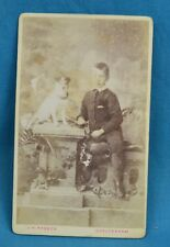 1870/80s Cdv Carte De Visite Photo Young Boy Dog Terrier Jack Russell Cheltenham