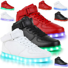 SAGUARO Unisex LED Light Lace Up Shoes Flat Trainers High Top Luminous Sneakers