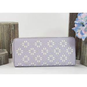 Kate Spade Sylvia Perforated Lilac Leather Large Zip Around Lacey Wallet NWT