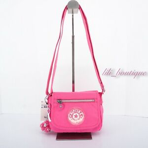 NWT Kipling KI1272 Sabian Crossbody Mini Shoulder Nylon Bag Flashy Pink Glitter