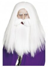 Mens White Wizard Wig & Beard Magician Gandalf Merlin Old Man Lord of the Rings