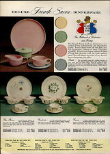 1957 PAPER AD French Saxon Dinnerware Plates Heather Rose Garden Pastel 2 Sided