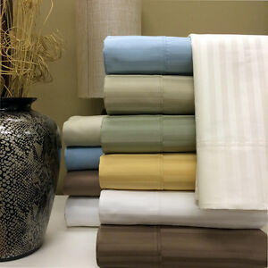 1200 Thread Count 100% Egyptian Cotton Stripe Bed Sheet Set 15 COLORS / 6 SIZES