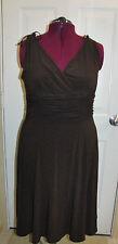 Scarlett Dark Brown Dress Rouched Waist Size 16W