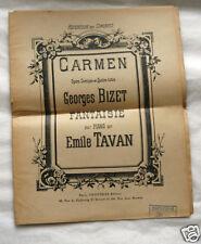 Partition piano musique Fantaisie sur Carmen Opéra de Bizet par Tavan Choudens