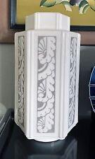 Art Deco Skyscraper Milk Glass Stencil Gray/Whte Ceiling Lamp Shade - Repaired