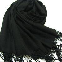 fashion Men's Winter black 100% Cashmere Pashmina Solid Neck Tassel Soft Scarf
