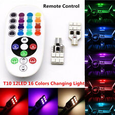 2x T10 12V RGB 5050 12 LED Car Interior Reading Wedge Dome Light Remote Control
