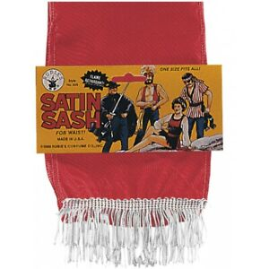 Satin Sash in Black, Green, Red or Yellow Pirate Gypsy Halloween Costume Acsry