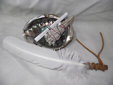 ABALONE SHELL SAGE WHITE 4 PIECE SMUDGING KIT & FEATHER SHAMAN SMUDGING