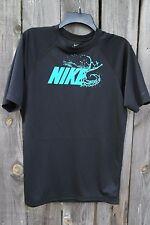Nike Mens Dri-Fit Pro Combat Fitted Crewneck Shirt NWT Black w/ Nike blue logo