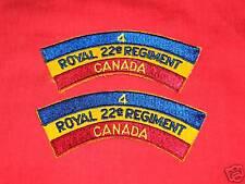4 ROYAL 22ND REGIMENT - CANADA Cloth Shoulder Flashes