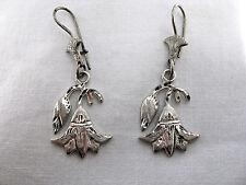 Egyptian Meduim Sterling Silver Double Lotus Flower Earrings #190