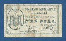 CONSEJO MUNICIPAL DE GANDIA -- 25 CENTIMOS ( 1937 ) -- BC- -- 1ª EMISION .