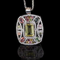 AAA Natural Citrine Tourmaline Pendant Exquisite Masterpiece 925 Sterling Silver