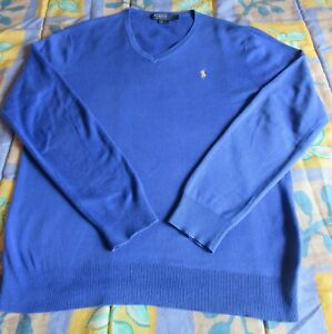 Pull  Col V Polo by RALPH LAUREN Taille L Manches longues 100% Coton Bleu TBE
