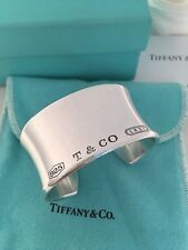 Tiffany & Co Sterling Silver 1837 Wide Cuff Bangle Bracelet. Small. RRP $1550