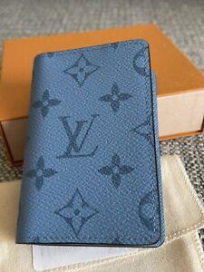 New Full Set LOUIS VUITTON Monogram Pocket Organizer in Blue Denim M30760
