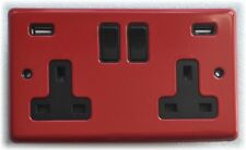 13 AMP SWITCHED DOUBLE SOCKET OUTLET WITH TWO USB SOCKETS RED STEEL BLACK INSERT