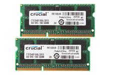 8GB Crucial 2X 4GB 2RX8 PC3-8500S DDR3 1066Mhz 204Pin Memory RAM Laptop PC8500