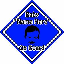 Personalised Baby/Child On Board Car Sign ~ Baby Face Silhouette ~ Neon D.Blue
