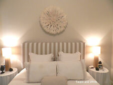 FUN BEDHEADS King Size Taupe and White Stripe Upholstered Bedhead RRP$950.00