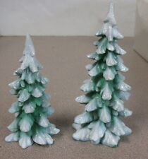"""2 Department 56 christmas Tree One Is 5 1/2"""" Tall And The Other Is 4 1/2"""" Tall"""