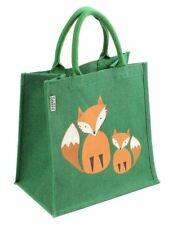 SHARED EARTH Two Foxes Green Square Jute Shopping Bag - 30 x 30 x 20cm  Hessian