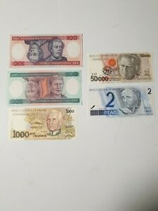 Lot Billets Bresil 1984 To 2001 Unc Banknotes Brazil