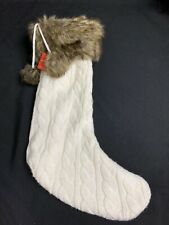 Ivory Cable Knit Sweater Christmas Stocking with Faux Fur Cuff Trim & Pom Poms
