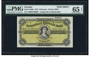 Sweden Sundsvalls Enskilda Bank 10 Kronor 1875 Pick S589s Specimen