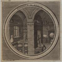GOLD Goldschmied CHEMIE Original Kupferstich um 1690 Alchemie Chemielabor AURUM