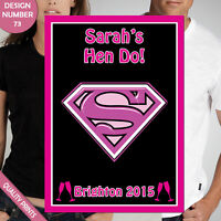 CUSTOMISABLE HEN PARTY SUPERWOMAN FUNNY LOGO IRON ON TRANSFERS CLOTHES