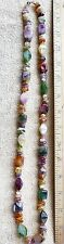 Multicolor plastic agate beaded necklace multiple shapes 33 inch length