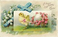 EASTER – Chick Pulling Cart with Egg and Flowers